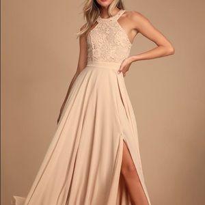 Lulu*s Picture Perfect Blush Lace Maxi Dress